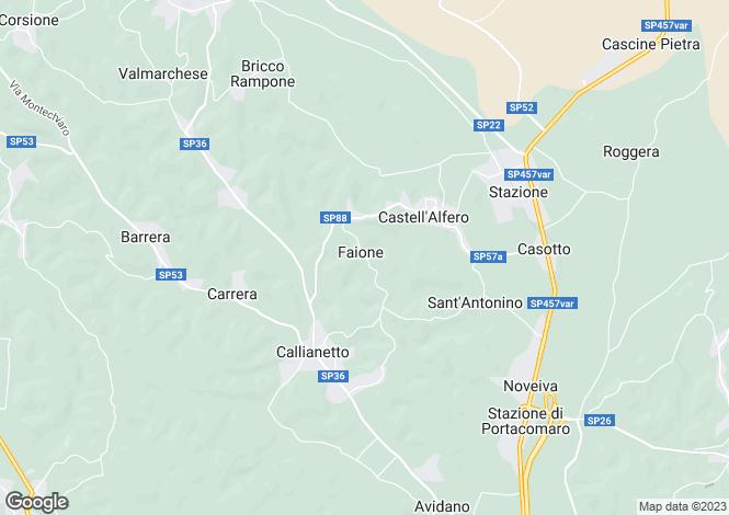 Map for Castell`Alfero, Asti, Piedmont