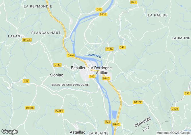 Map for Beaulieu-sur-Dordogne, Corrèze, 19120, France
