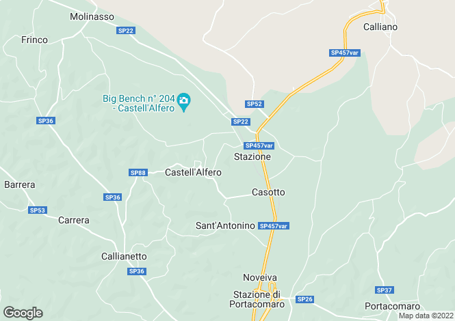 Map for Piedmont, Asti, Castell`Alfero