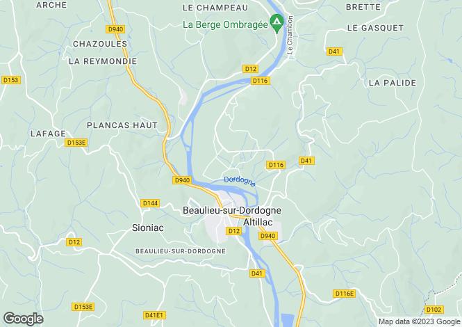 Map for Limousin, Corrèze, Beaulieu-sur-Dordogne