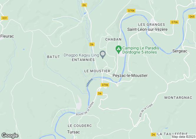 Map for peyzac-le-moustier, Dordogne, France