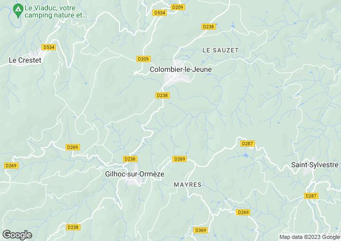Map for colombier-le-jeune, Ardèche, France
