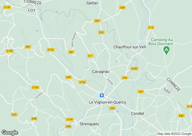 Map for Midi-Pyrénées, Lot, Cavagnac