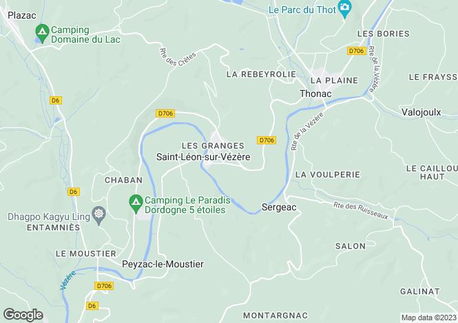 Map for Aquitaine, Dordogne, St-Léon-sur-Vézère