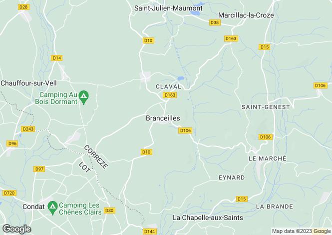 Map for Limousin, Corrèze, Branceilles