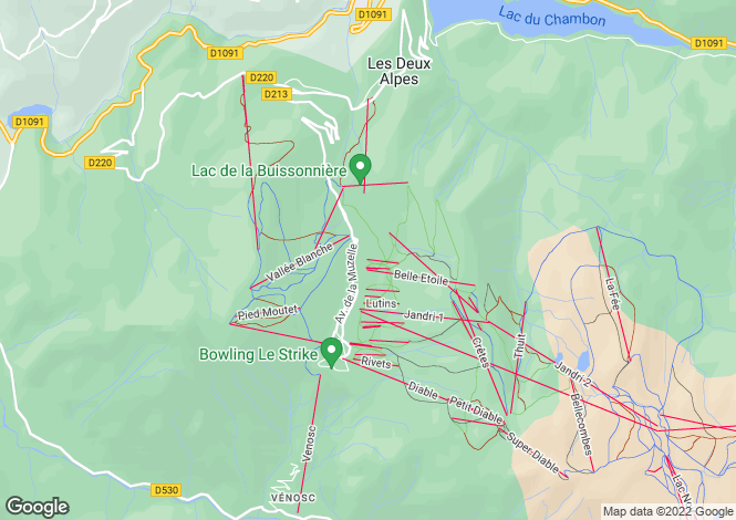 Map for Les Deux-Alpes, Isere, France