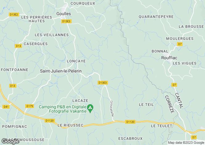 Map for St-Julien-le-Pélerin, Corrèze, Limousin