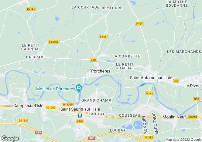 Map for Secteur: Porchères, Gironde