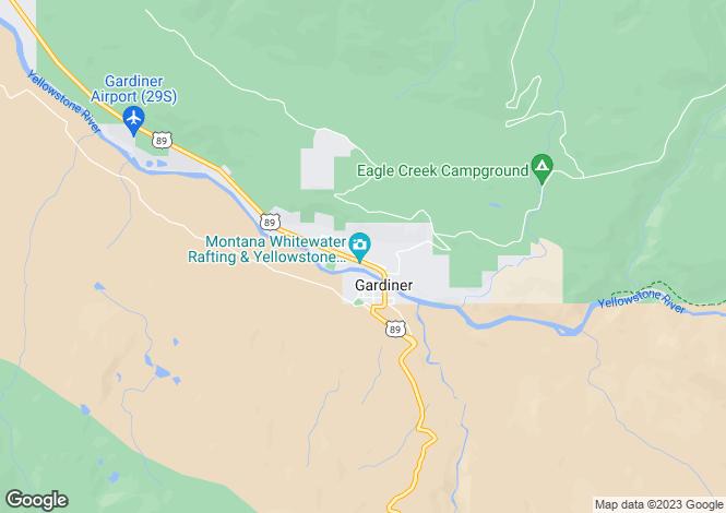 Map for Montana, Park County, Gardiner