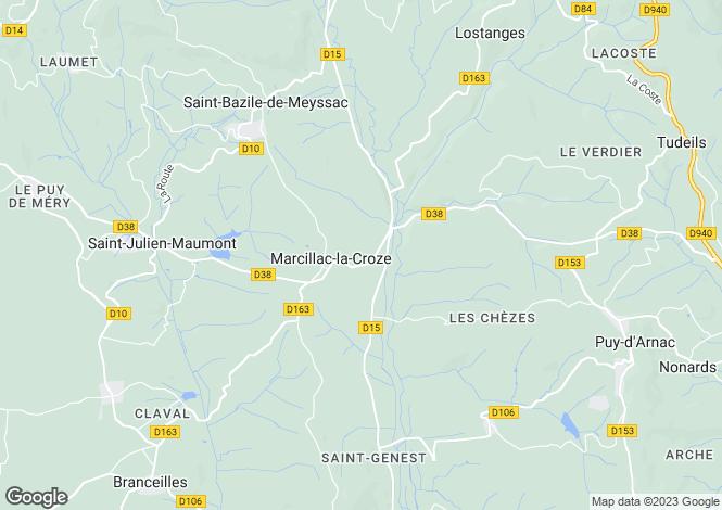Map for marcillac-la-croze, Corrèze, France