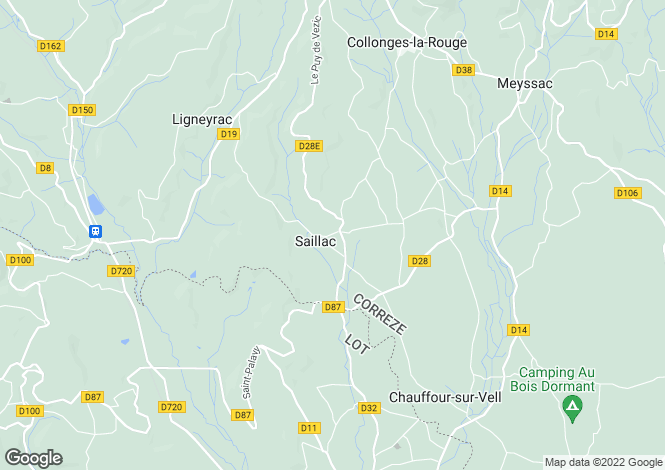 Map for saillac, Corrèze, France