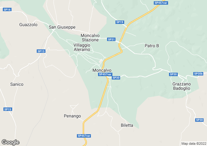 Map for Moncalvo, Asti, Piedmont