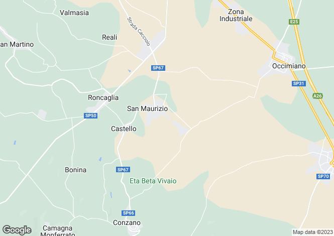 Map for Vignale Monferrato, Alessandria, Piedmont