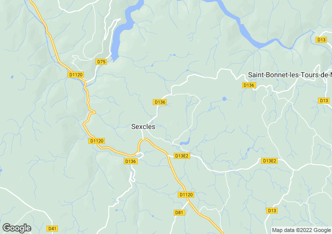 Map for Sexcles, Corrèze, Limousin
