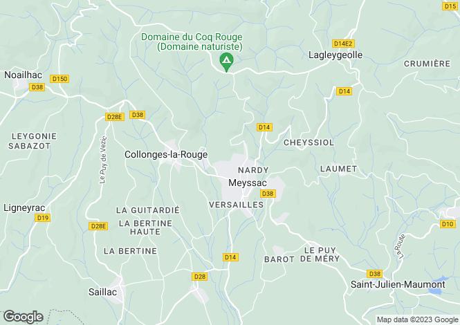 Map for Limousin, Corrèze, Meyssac