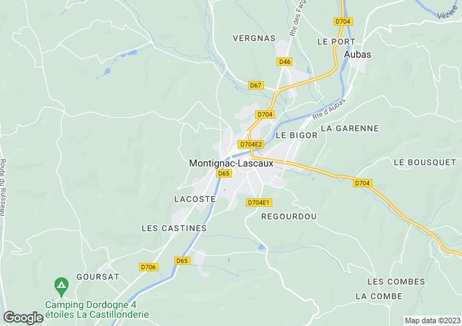 Map for Montignac, Aquitaine, 24290, France