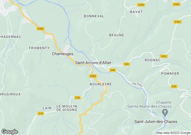 Map for chanteuges, Haute-Loire, France