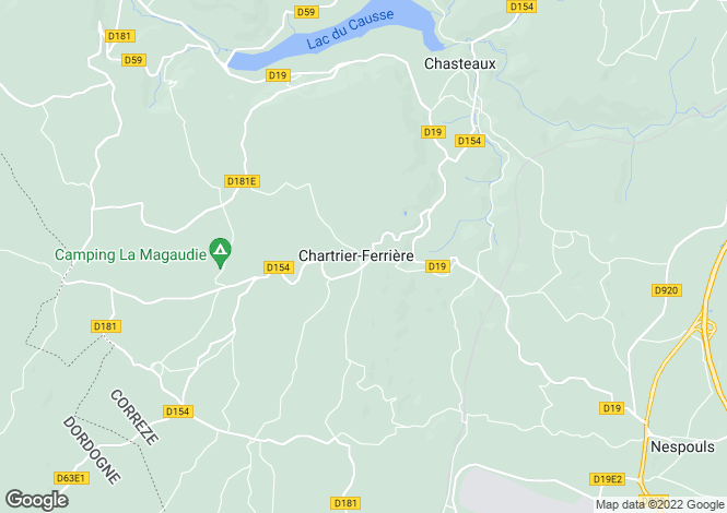 Map for chartrier-ferriere, Corrèze, France