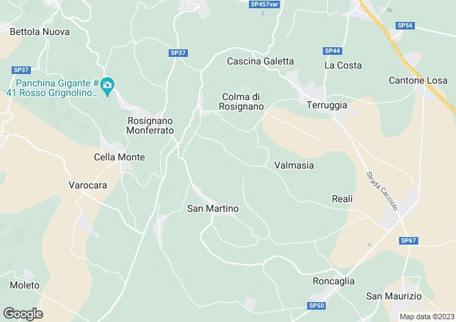 Map for Ozzano Monferrato, Alessandria, Piedmont