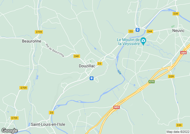 Map for douzillac, Dordogne, France