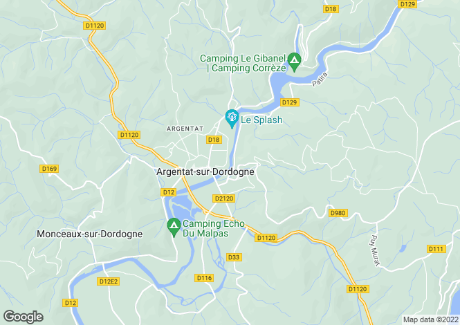 Map for Limousin, Corrèze, Argentat