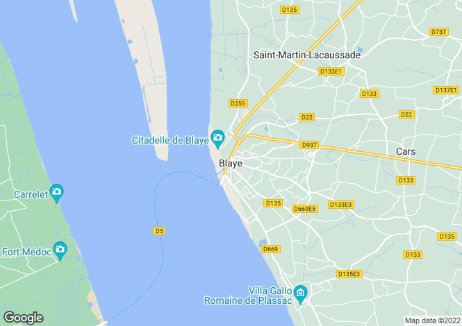 Map for Secteur: Blaye, Gironde