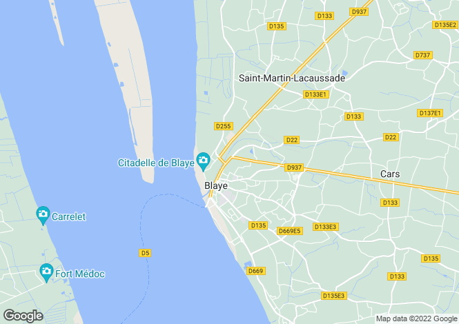 Map for Blaye, Gironde, Aquitaine