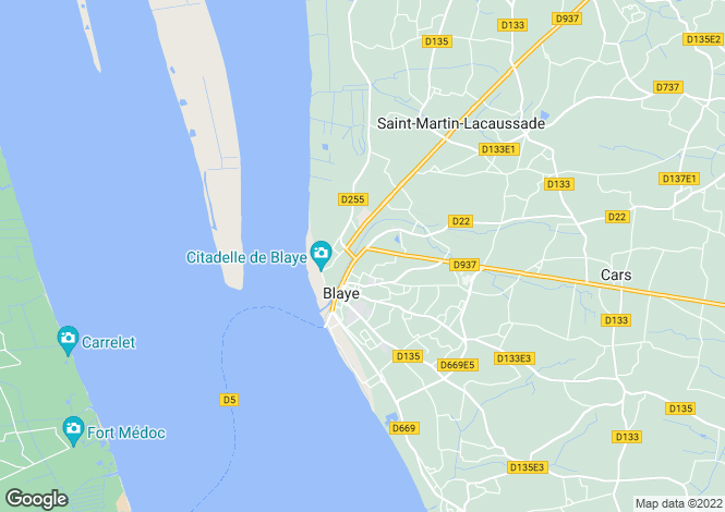 Map for blaye, Gironde, France
