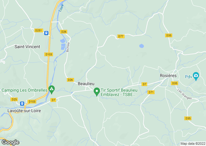 Map for beaulieu, Haute-Loire, France
