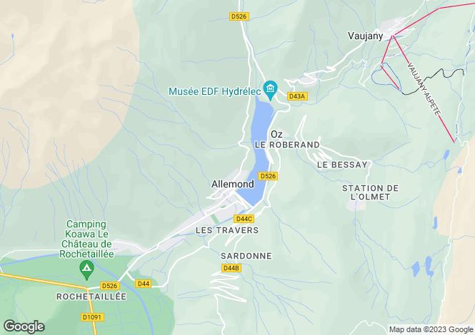 Map for Rhone Alps, Isère, Allemond