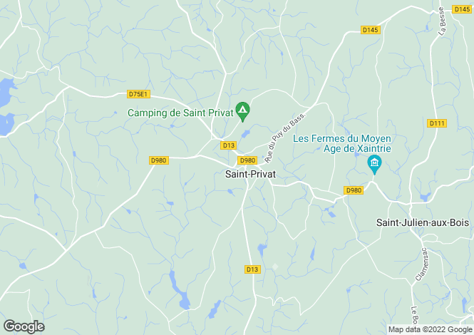 Map for Limousin, Corrèze, St-Privat