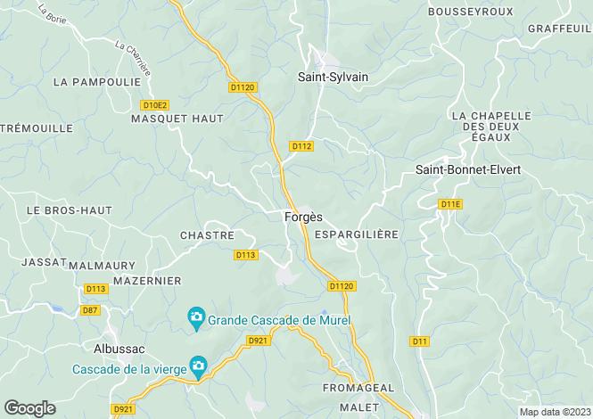 Map for Limousin, Corrèze, Forgès