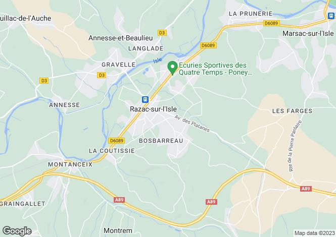 Map for Aquitaine, Dordogne, Razac-sur-l'Isle
