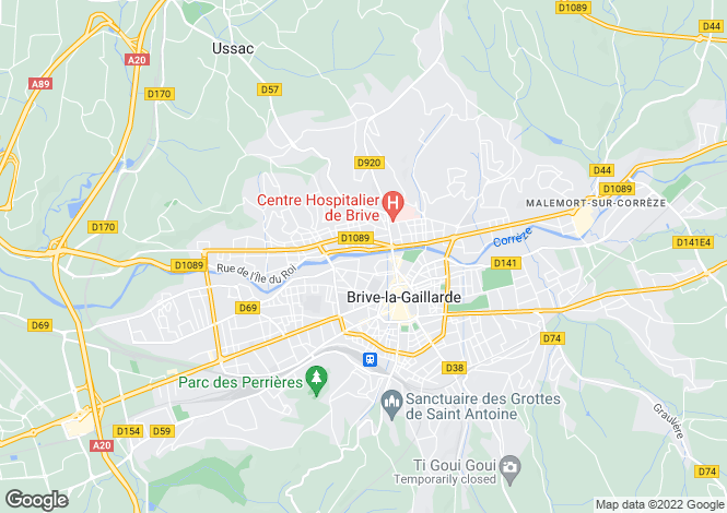 Map for Limousin, Corrèze, Brive-la-Gaillarde