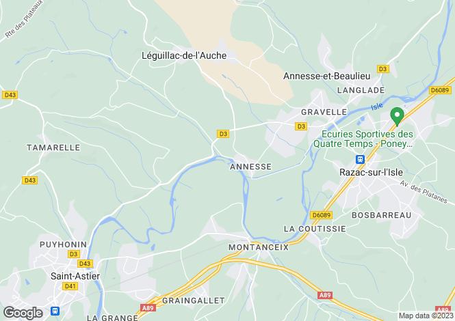 Map for Aquitaine, Dordogne, Annesse-et-Beaulieu