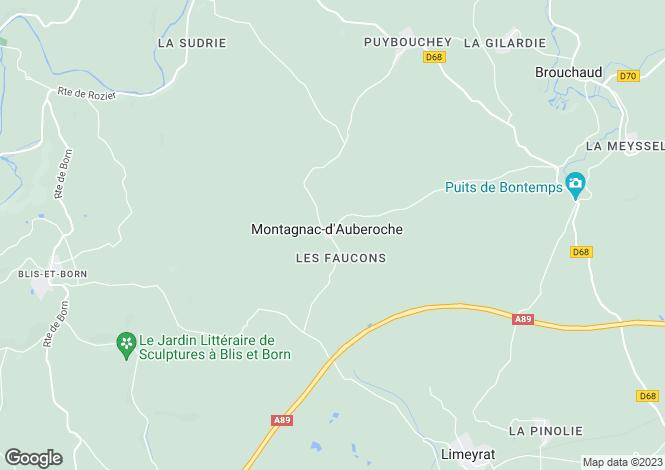 Map for Aquitaine, Dordogne, Montagnac-d`Auberoche