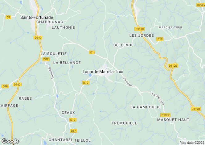 Map for Lagarde-Enval, Corrèze, Limousin