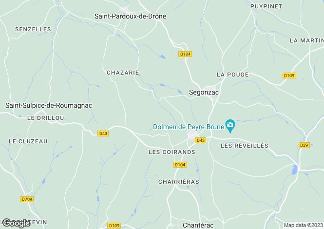 Map for segonzac, Dordogne, France