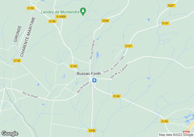 Map for Poitou-Charentes, Charente-Maritime, Bussac-Forêt