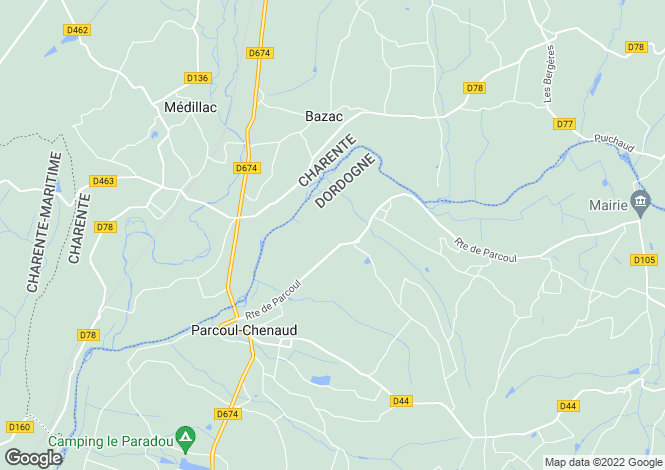 Map for bazac, Charente, France