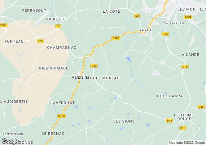 Map for Riberac, Dordogne, 24600, France