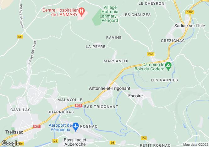Map for Aquitaine, Dordogne, Antonne-et-Trigonant