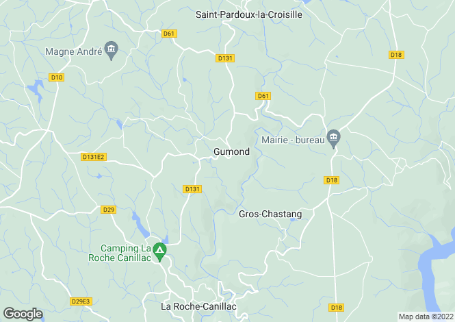 Map for Limousin, Corrèze, Gumond