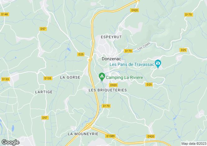 Map for donzenac, Corrèze, France