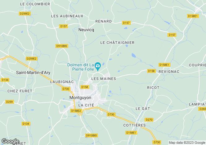 Map for Montguyon, Charente-Maritime, Poitou-Charentes