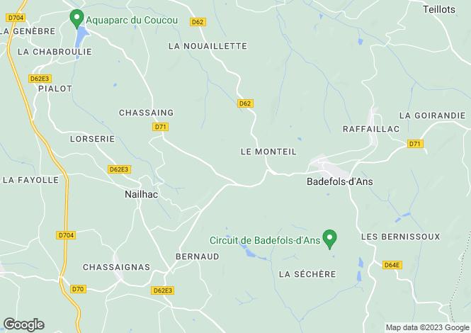 Map for Aquitaine, Dordogne, Badefols-d`Ans