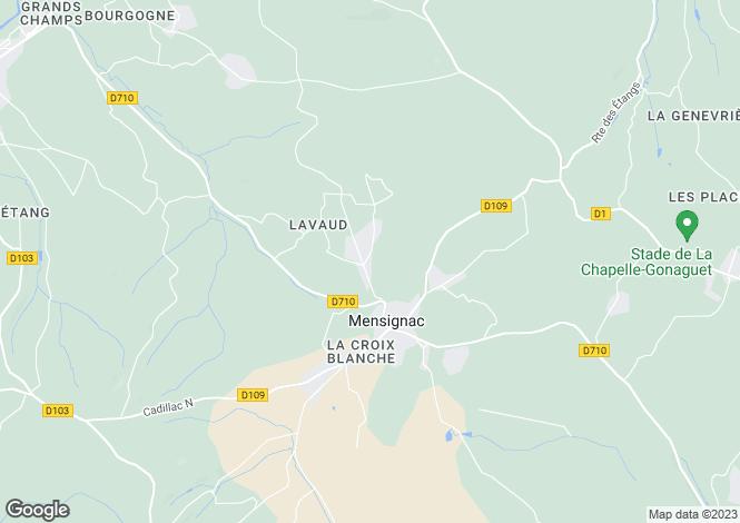 Map for mensignac, Dordogne, France