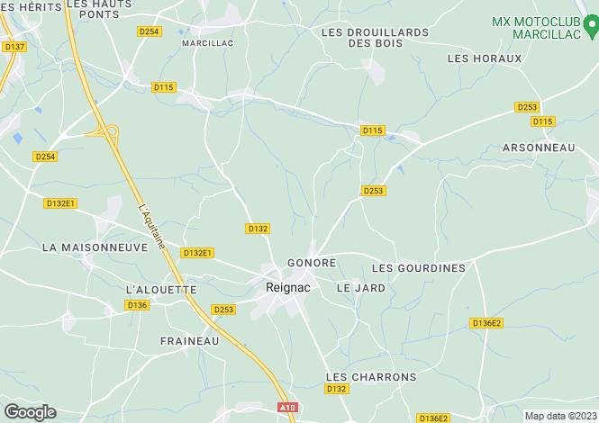 Map for Aquitaine, Gironde, Reignac