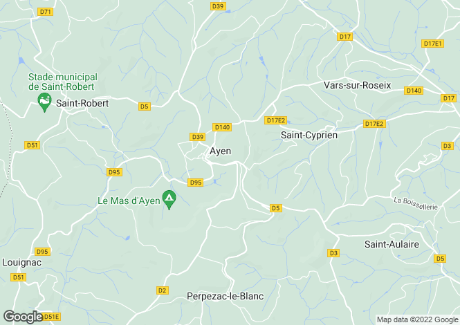 Map for ayen, Corrèze, France