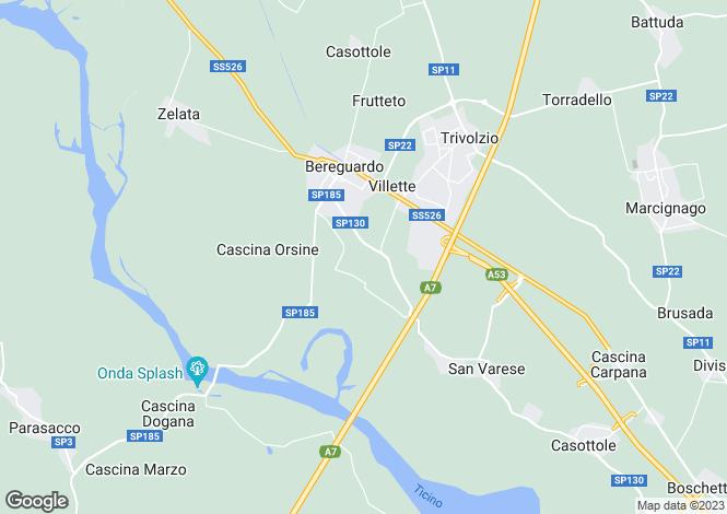 Map for Lombardy, Pavia, Bereguardo